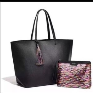 Brand New Victoria's Secret black leather tote bag
